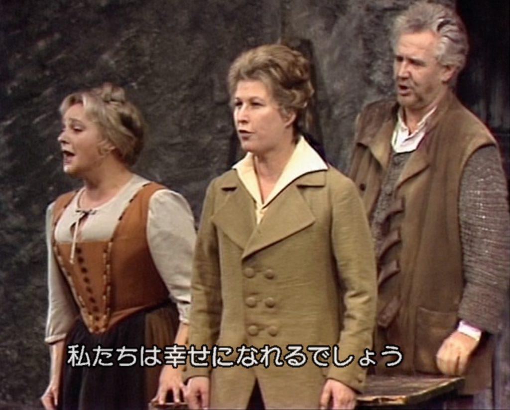 左からマルツェリーネ役のルチア・ポップ、フィデリオ(レオノーレ)役のグンドゥラ・ヤノヴィッツ、ロッコ役のマンフレート・ユンギヴィルト。(C)1978 ORF