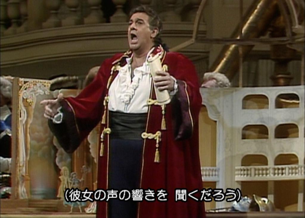 ザルツブルク音楽祭1990の「仮面舞踏会」でグスターヴォ三世役を務めたプラシド・ドミンゴ。(c) 日本コロムビア