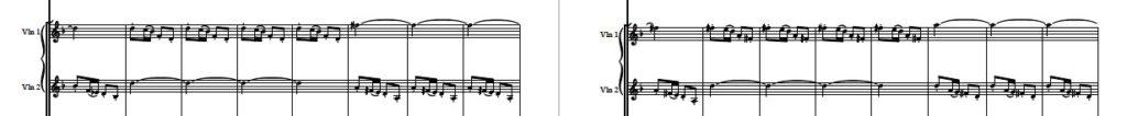ベートーヴェン交響曲第6番「田園」第1楽章のステレオ効果の部分