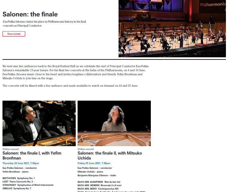 フィルハーモニア管のHPにあるサロネンの首席指揮者最後のコンサートの情報