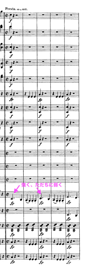 ベートーヴェン交響曲第5番「運命」第4楽章より。ブライトコプフ第1版