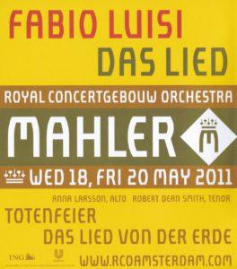 マーラー交響曲「大地の歌」 ファビオ・ルイージ/ロイヤル・コンセルトヘボウ管弦楽団(2011年)