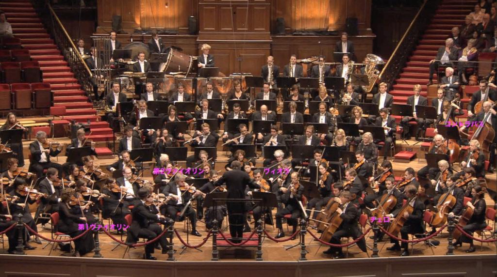 マーラーの交響曲第3番を演奏したときのロイヤル・コンセルトヘボウ管弦楽団の配置(2010年) (c) RCO Live
